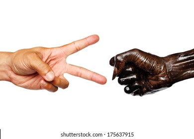 Rock, Paper,Scissors- hands isolated on white background