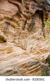 Rock patterns formed by water erosion in Zion National Park Utah USA