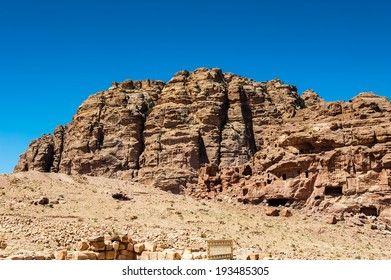 Rock in Petra (Rose City), Jordan. The city of Petra was lost for over 1000 years. Now one of the Seven Wonders of the Word