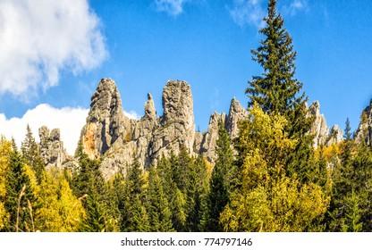 Rock pillars of the mountain Yalangas in the Southern Urals near Beloretsk