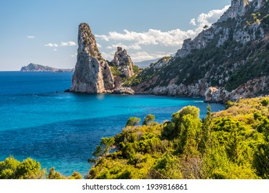 "Rock pinnacle called ""Pedra Longa"" in the Orosei gulf near Santa Maria Navarrese, small sea village in Ogliastra (Sardinia, Italy)"