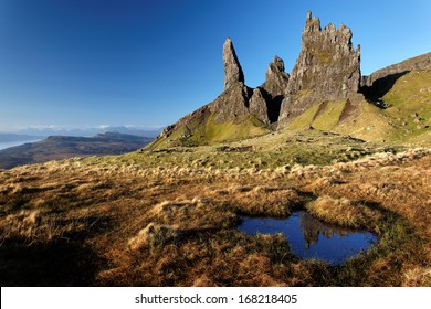 Rock pinnacles below The Storr , Isle of Skye, Scotland
