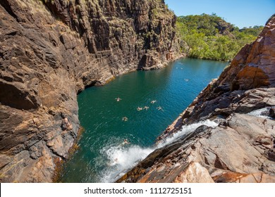 Rock pool at the Barramundi falls, Kakadu National Park, Northern Territory, Australia, one of the crocodile fre lakes in this area, where swimming is possible