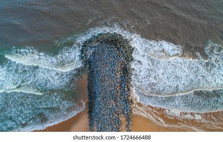 Rock for the protection of the Cotonou - Benin Republic coastline