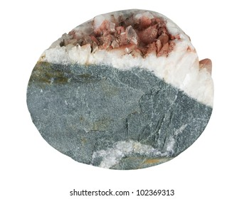 Rock and quartz - a well core on a white background