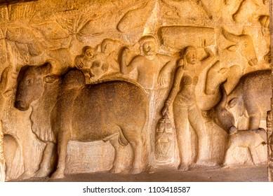 Rock relief carving in mahabalipuram, Tamil Nadu, India