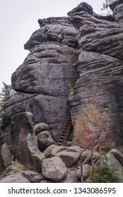 Rock with remains of Strmen Castle in Teplice Rocks, part of Adrspach-Teplice landscape park in Czech Republic