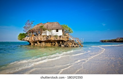 Rock Restaurant over the sea in Zanzibar, Tanzania, Afrika.
