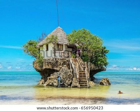 The Rock Restaurant Zanzibar ,Over Water House Build In A Coral Rock In  Zanzibar 2015