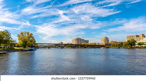 Rock River view in Rockford Town of Illinois