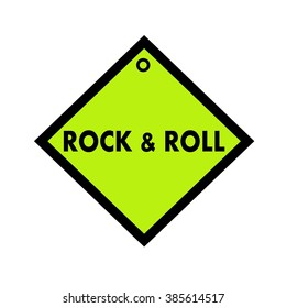rock and roll black wording on quadrate green background
