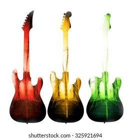 Rock and roll guitars graphic artwork.