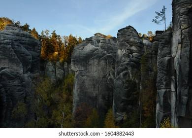 Rock sandstones tower in Prachov