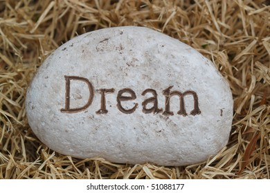 rock with saying dream on the grass
