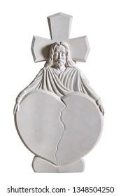 Rock sculpture of saint holding broken heart tombstone