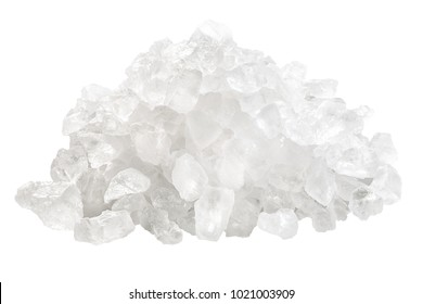 Rock sea salt, coarse, pile of. Clipping path