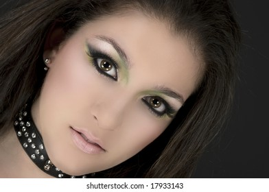 Rock singer with beautiful make up
