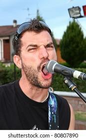 rock singer during a concert