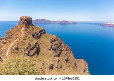 The rock of Skaros protruding into the caldera, Santorini, Greece