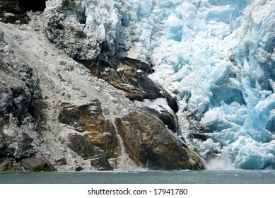 Rock slide near the face of a glacier
