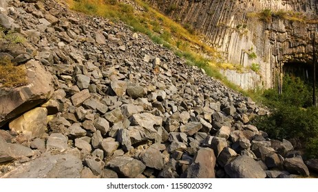 Rock slides and stones scattered over hills, risk of mudflow, geology science