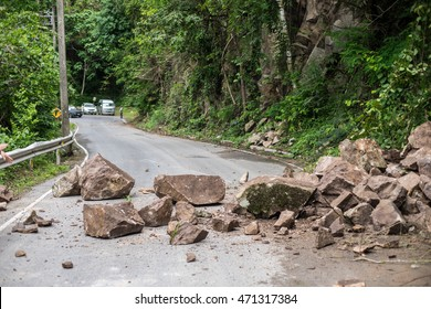 Rock sliding blocks the road