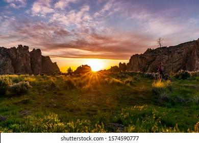 Rock Smith State Park at sunset near Bend, Oregon, USA.