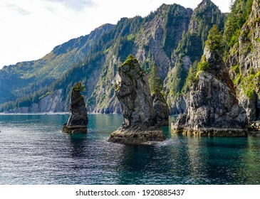 Rock Spires in the Turquoise Waters of Spire Cove In Kenai Fjords National Park