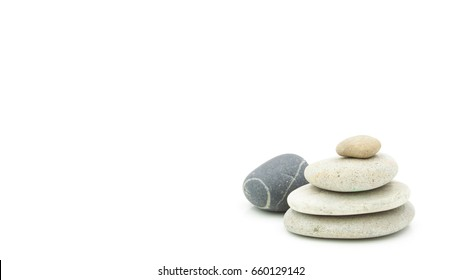 Rock stack for spa concept, isolated on white
