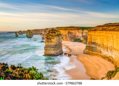 The rock stacks that comprise the Twelve Apostles at sunset in Port Campbell National Park. Great Ocean Road, Victoria State, Australia.