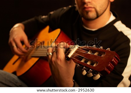Rock Star Plays Acoustic Guitar On Stock Photo (Edit Now) 2952630