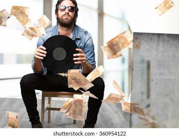 rock star with vinyl