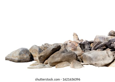 Rock stone isolate on white background with clipping path.