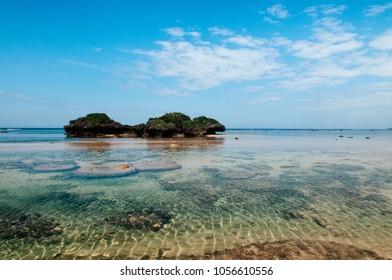 Rock and stone scenery of Hoshizuna beach, Iriomote isalnd - Okinawa, Japan. Tropical island with rocky beach and cape