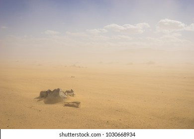 Rock stones sit in the sand in the middle of a blowing sandstorm.