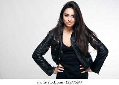 Rock style beautiful young woman