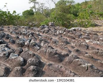 The rock style buttons at Lan Hin Taek (Broken Rock) in Phu Hin Rong Kla National Park, Phitsanulok Province, Thailand