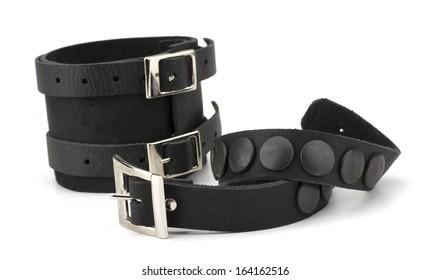 Rock style leather bracelets isolated on white background