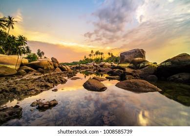 Rock and sunset bintan beach wonderfull indonesia
