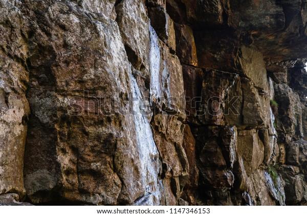 Rock textures on mountain