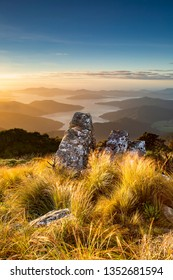 Rock tor on Mt Stokes, Endeavour Inlet, Marlborough Sounds, New Zealand