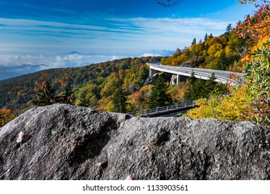 Rock View of Linn Cove Viaduct in autumn