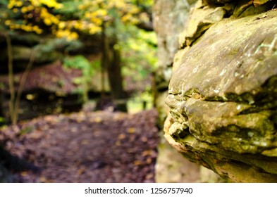 A rock wall lines a hiking path