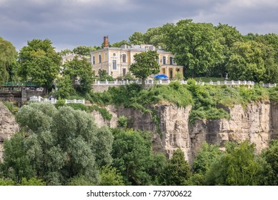 Rock wall of Smotrych River canyon in Kamianets Podilskyi, Ukraine