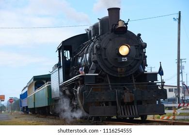 ROCKAWAY BEACH, OREGON-JUNE 15, 2018: The old steam locomotive operated by the Oregon Coast Scenic Railway at its destination in Rockaway Beach.