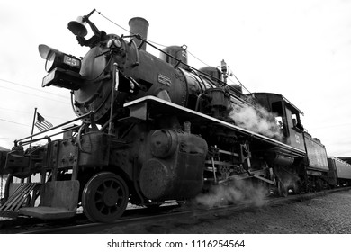 ROCKAWAY BEACH, OREGON-JUNE 15, 2018: A black and white photograph of the old steam locomotive operated by the Oregon Coast Scenic Railway at its destination in Rockaway Beach.
