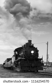 ROCKAWAY BEACH, OREGON-JUNE 15, 2018: A blast of steam from the old steam locomotive operated by the Oregon Coast Scenic Railway at its destination in Rockaway Beach.