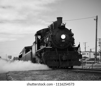 ROCKAWAY BEACH, OREGON-JUNE 15, 2018: Steam vents from the old locomotive operated by the Oregon Coast Scenic Railway at its destination in Rockaway Beach.