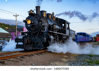 Rockaway, Oregon - 8/11/2019: The Oregon Coast Scenic Railroad, a steam-powered heritage train.  This locomotive is the former McCloud Railway No. 25 made by the American Locomotive Company.
