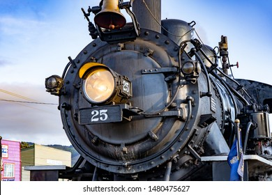 Rockaway, Oregon - 8/11/2019: Coast Scenic Railroad, a steam-powered heritage train.  This locomotive is the former McCloud Railway No. 25 made by the American Locomotive Company.